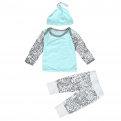 Efaster Baby Boy Girl Outfit Clothes Long Sleeve Printing T-Shirt+Long Pants+Hat