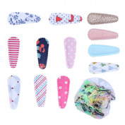 KimmyKu 12Pairs/24Pcs Cotton Fabric Covered Snap Infant Toddler Baby Girls Hair clips Accessories Barrettes Non Slip Plus 450pcs Rubber Hair Bands Ties