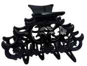 Parcelona French Beau Medium Black Celluoid Jaw Hair Claw Clip Clutcher Clamp