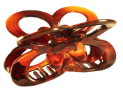 Parcelona France Butterfly Medium Flat Teeth Shell Brown Covered Spring Celluloid Hair Claw Clip 7.6cm