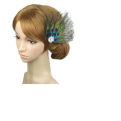 Leiothrix Unique Peacock Feather & Rehinestone Hair Pins for Women and Girls Apply to Party Evening Costume