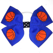 4 Loop Basketball Hair Bows, Made in the USA, many colours, white pony band