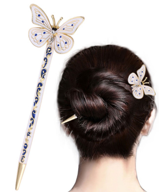 LiveZone Fashion Hair Decor Chinese Traditional Style Women Girls Hair Stick Hairpin Hair Making Accessory with Butterfly ,Blue White and Gloden