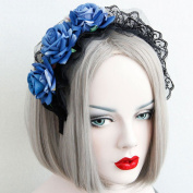 Housemaid Style Gothic Vintage Blue Rose Flower Lace Hairbands Cosplay Queen Elegant Headbands Girl Travel Hair Accessory