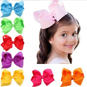 PETMALL 6 pcs 15cm boutique kids big baby for hair clips ribbon bows with for girls barrettes children accessories hairpins headwear E039