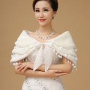 CIMC LLC Three Layers Gouge Faux Fur Wedding Bridal Wrap/Bridal Shrug/Shawl Formal Party Bolero With Bowknot
