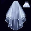 Ewandastore Double Ribbon Edge Centre Cascade Bridal Wedding Veil with Comb White