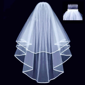 Ewandastore Double Ribbon Edge Centre Cascade Bridal Wedding Veil with Comb White