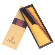 Breezelike No Static Black Buffalo Horn Comb Fine Tooth Teasing Tail Comb with Purpleheart Wood Handle