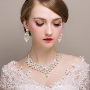 Bridalvenus Luxuriant Wedding Bridal Jewellery Set Earrings and Necklaces with Rhinestones and Pearls for Women and Girls