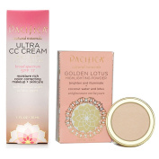Pacifica Ultra CC Cream Radiant Foundation (Natural/Medium) & Golden Lotus Highlighting Powder (Sheer Golden Glow) Bundle with Coconut and Safflower Extract, 30ml Foundation and .150ml Powder