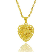 CS-DB Gold 24K Real Gold Plated Flower Heart Graceful Pendant Women Necklace 46cm