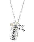 Cross Charm Hammered I am Blessed Oval Pendant & Imitation Pearl Chain Necklace By Jewellery Nexus