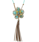Long Imitation Turquoise & Faux Leather Beaded Flower Tassel Boutique Style Necklace
