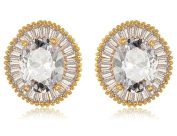 KnSam Women Gold Plate Pierced Stud Earrings Sunflower Oval Crystal Rhinestone Champagne