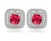 KnSam Women Platinum Plate Pierced Stud Earrings Square Halo Crystal Rhinestone Red [Novelty Earrings]