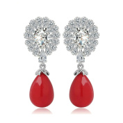 KnSam Women Platinum Plate Pierced Drop Earrings Halo Ball Shellfish Crystal Rhinestone Red