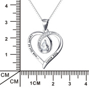 """YFN Sterling Silver """"I Want to Tell You I Love You"""" Infinity Love Heart Engraved Pendant Necklace 46cm"""