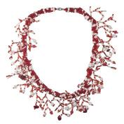 Glass Seed Bead Fun Fringe Handmade Statement Necklace