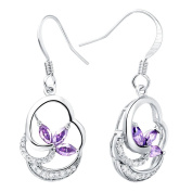KnSam Women Platinum Plate Pierced Drop Earrings Fishhook Leaf Purple Crystal [Novelty Earrings]