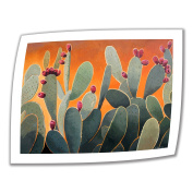 Art Wall Cactus Orange 60cm by 70cm Unwrapped Canvas Art by Rick Kersten with 5.1cm Accent Border