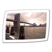 Art Wall Brooklyn Bridge at Sunset 80cm by 120cm Unwrapped Canvas Art by Linda Parker with 5.1cm Accent Border