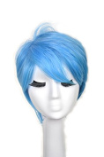 Yuehong Blue Short Wavy Fashion Hair For Unisex Adult Cosplay Costume Hair Party Wig .