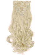 S-noilite A+ 1.8cm Real Natural Soft Curly 170g 8 Pieces Full Head Clip in Hair Extensions for Girl Lady Women 43cm -curly, Bleach Blonde)