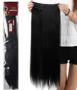 80cm Long Straight Fashion Straight/Curly Wavy Synthetic Hair Extensions Hairpieces 5 Clips in Hairpieces Wig Sexy Lady Cosplay Party Woman Beauty Hair Dark Black