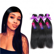 Mornice Hair 8A Grade 3 Bundles 300G 100% Unprocessed Brazilian Remy Virgin Hair Weft Weave Real Silky Straight Human Hair Extensions Natural Black