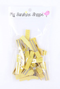Partially LINED Double Prong Craft Alligator Clips - 25 Hair Clips - Yellow