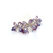 Three butterfly hair jewellery inlaid crystal inserted comb hairdisk,purple