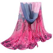FEITONG Women Ladies Chiffon Rose Pattern Shawl Wraps Scarf Scarves
