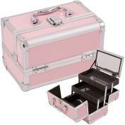 Makeup Cosmetic Beauty Train Organiser Case with Mirror and Easy Clean Extendable Trays