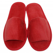 TowelRobes Terry Velour Open Toe Unisex Slippers - Red