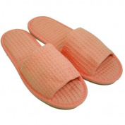 Waffle Open Toe Adult Slippers Cloth Spa Hotel Unisex Pink Slippers