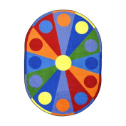 Joy Carpets Kid Essentials Early Childhood Oval Colour Wheel Rug, Multicoloured, 1.5m x 2.1m
