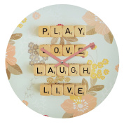 DENY Designs Happee Monkee Play Love Laugh Live Round Clock, 30cm Round