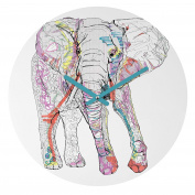DENY Designs Casey Rogers Elephant 1 Round Clock, 30cm Round