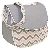 Hoohobbers Messenger Nappy Bag, Chevron Pink