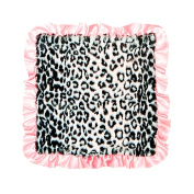 Max Daniel Black Jaguar Front and Pink Satin Back and Ruffle Security Blanket