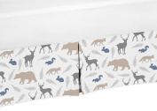 Deer Bear Fox Crib Bed Skirt Dust Ruffle for Boys Woodland Animals Collection Baby Bedding Sets