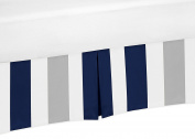 Navy Blue, Grey and White Crib Bed Skirt Dust Ruffle for Boys Stripe Collection Baby Bedding Sets