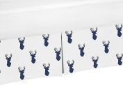 Navy Blue and White Crib Bed Skirt Dust Ruffle for Boys Woodland Deer Collection Baby Bedding Sets