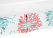 Coral and Turquoise Floral Crib Bed Skirt Dust Ruffle for Girls Emma Collection Baby Bedding Sets