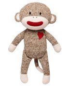 Sock Monkey Red Heart Plush Monkey 28cm Rattle Toy