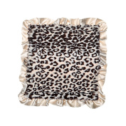 Max Daniel Grey Jaguar Front with Grey Satin Back and Ruffle Security Blanket Luxury
