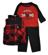 U.S. Polo Assn Boys' Polar Fleece and Taslon Vest, Long Sleeve T-Shirt and Denim Jean