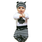 EITC Baby Boys Girls 3pcs Pants Clothes Set:Bodysuit+Pants+Hat Play Sleepwear