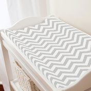 Carousel Designs White and Silver Grey Chevron Changing Pad Cover